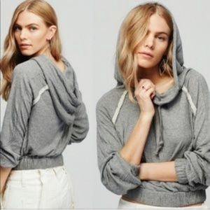 Free People Kimmie Hooded Pullover Gray Size Small